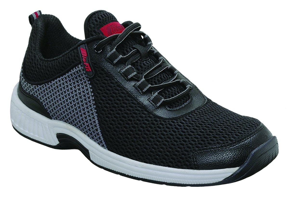 Orthofeet Edgewater Comfort Orthopedic Orthotic Mens Diabetic Sneakers Leather Black Leather 9 XW US by Orthofeet (Image #1)