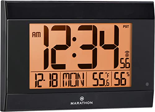 Marathon Large Atomic Wall Clock with Auto Backlight, Calendar, Temperature, and Humidity – Self Setting, Self Adjusting – Batteries Included – CL030052BK Black Frame, Black Trim