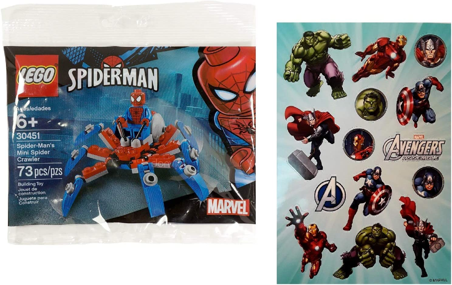 LEGO Spider-Man 30451 Spider-Man's Mini Spider Crawler Polybag with one Sheet of 14 Avengers Assemble Stickers Bundle (2 Items)