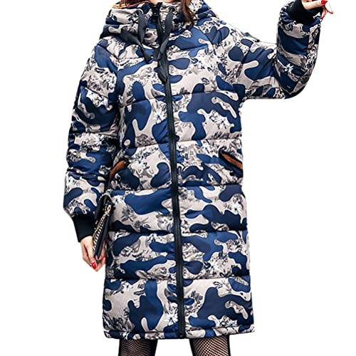 Zhhlinyuan Buena calidad chaqueta abajo Classic Retro Camouflage Color Womens Down Coats Ears Hooded...