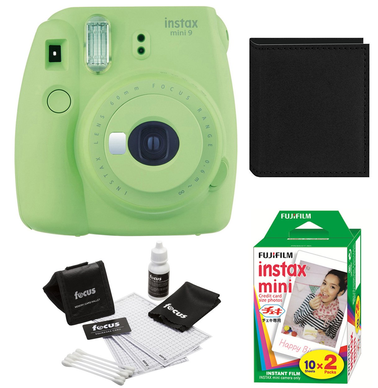 Fujfiom Instax Mini 9 (Lime Green) with 2 Pack Film and Photo Wallet