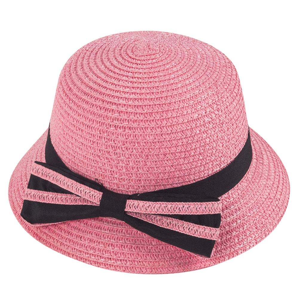 Toponly Kids Summer Straw Boater Hat Bowknot Beach Sun Protection Hats for Girls Boys 3-5 Years Pink