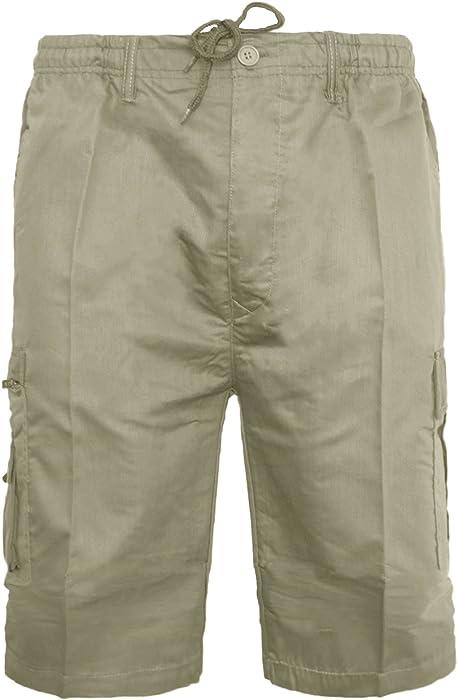 Men/'s Summer Cotton Linen Pockets Casual Cargo Combat Half Pants Beach Shorts