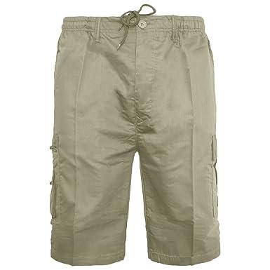 f096a99f9e Mens Plain Shorts & 3/4 Three Quarter Length Shorts Cargo Combat Casual  Summer Beach Poly Cotton 6 Pockets Work Short & ¾ Shorts Elasticated Waist  ...
