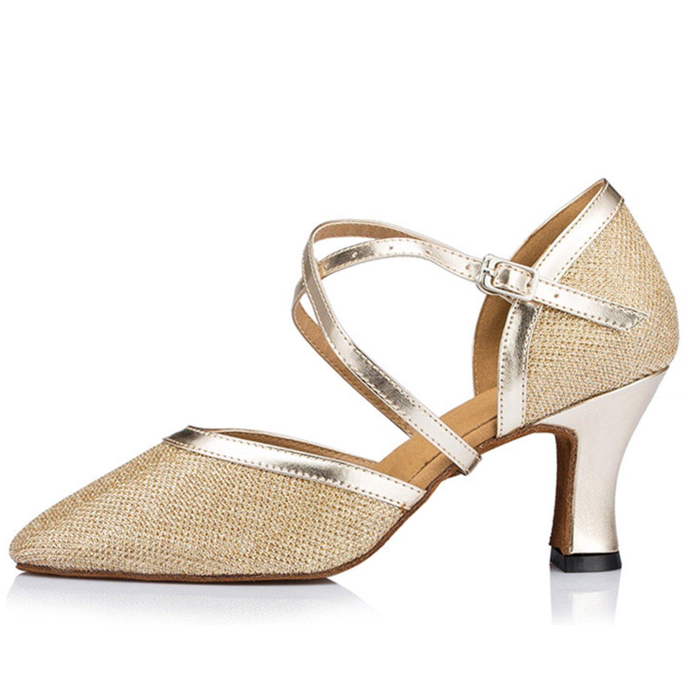 OneCouleur BYLE Sangle de Cheville Sandales en Cuir Chaussures de Danse Modern'Jazz Samba Adultes d'été Chaussures de Danse Latine Chaussures de Danse or Sangles 40 EU