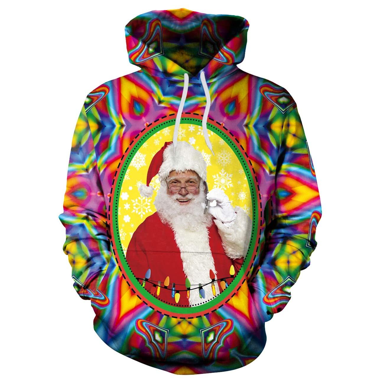 Minishion Womens Drawstring Santa Printed Color Christmas Sweater Shirt Hooded Top