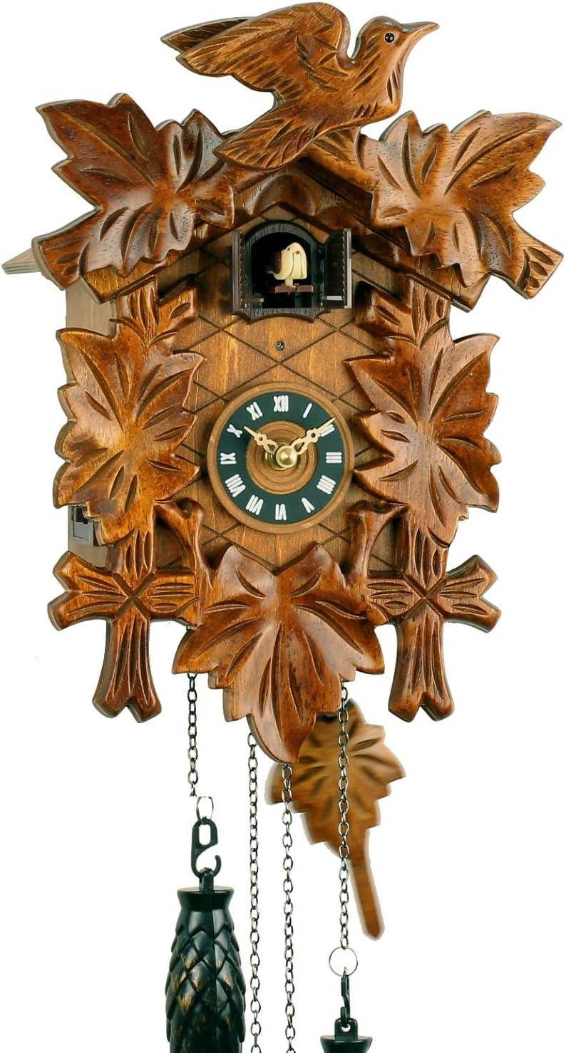 Eble - Reloj de cuco de madera con mecanismo de cuarzo que funciona con pilas y con sonido de cuco y mecanismo musical de Eble, diseño de hojas 30cm