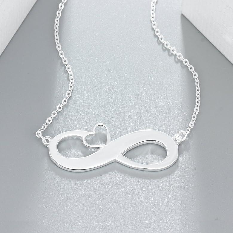 Grand Made Collar con Nombre Personalizado de la Personalizado Infinito Collar 925 Plata de Ley 2 Name of Woman Joyas para Mujer