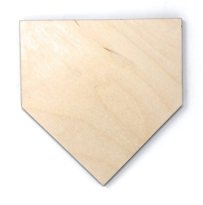 "Gocutouts 12"" Home Plate Cutout Package of 24 Base Shape 1/8"" Baltic Birch Baseball Decor Cutouts (12"" Package of 24)"