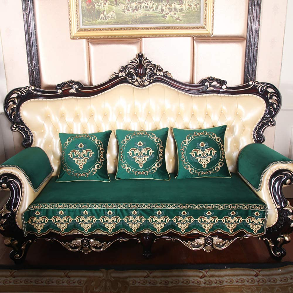 Sofa cover Vintage Plush, Reversible Jacquard Luxury Sofa Slipcover Lace Furniture Protector for Leather Fabic Armrest Couch Cover-b Green 90x240cm(35x94inch)