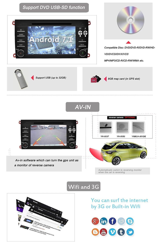 YINUO 7 Inch Android 7.1.1 turrón Quad Core Car Stereo 2 DIN HD Touch Screen Sat Nav GPS navegación estéreo Bluetooth 3 G WIFI para Porsche Cayenne 2003 ...