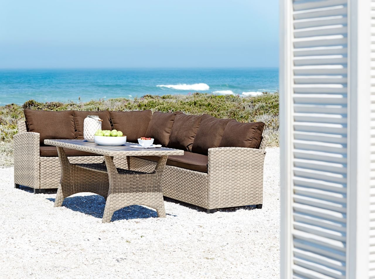 Jysk garden lounge set juelsminde 6 pers brown amazon co uk kitchen home