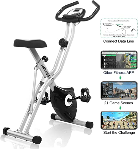 ANCHEER Folding Exercise Bike EB7, 10-Level Adjustable Magnetic Resistance Upright Stationary Bike - 265lb Capacity Grey