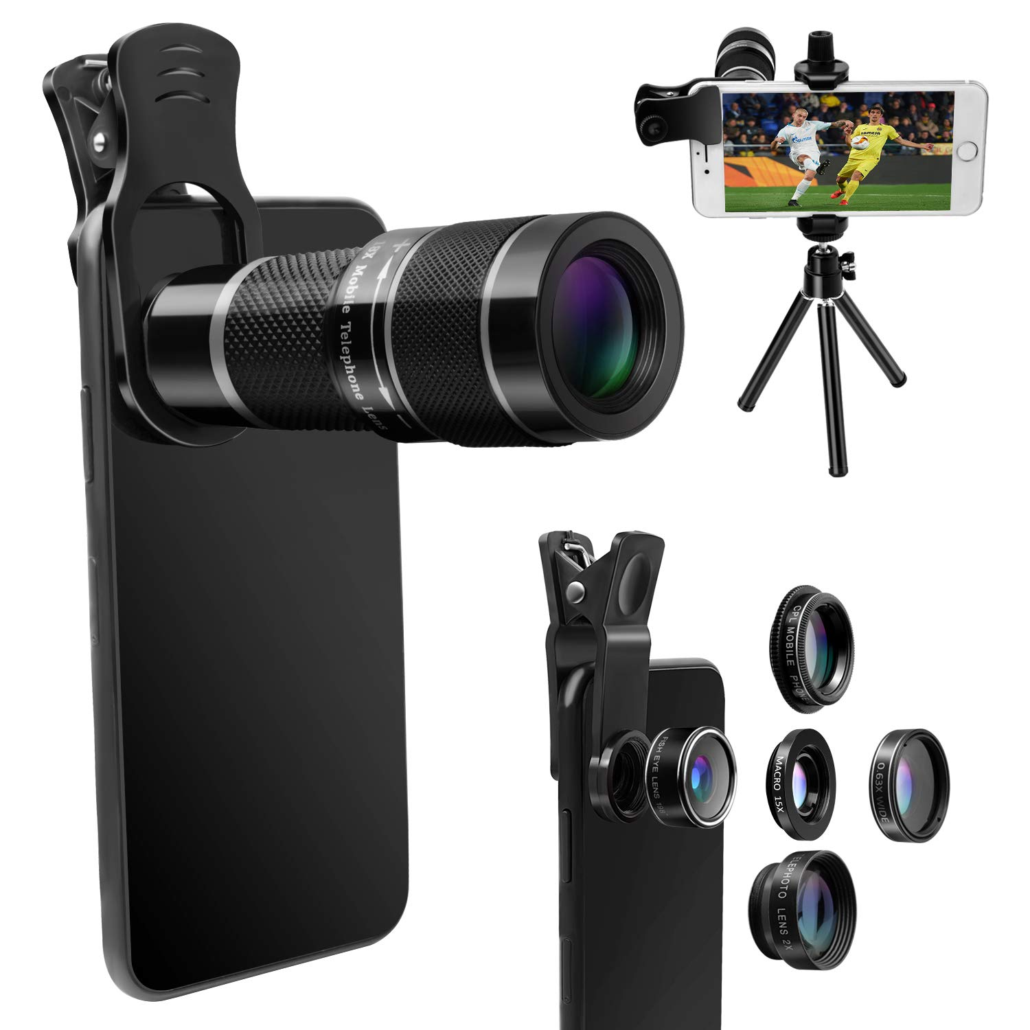 Phone-Lens-Kit with Tripod+Remote Shutter,6 in 1 Camera Lens for iPhone-18X Telephoto Lens+Wide Angle& Macro Lens+Fisheye+2X Lens+CPL, for Most Smart-Phone