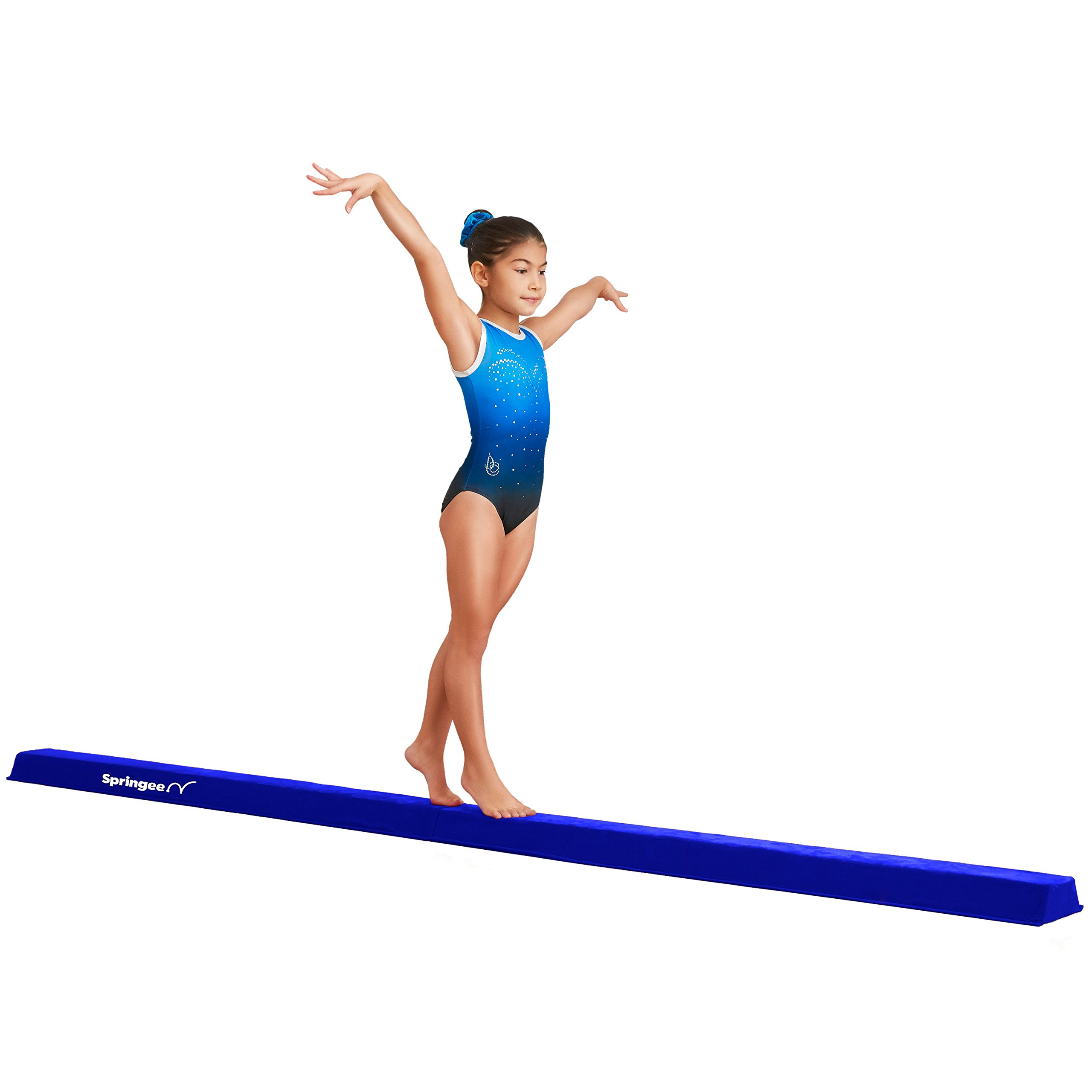 9.5' Balance Beam - Folding Gymnastic Beam Girls, Boys, Teens - Increase Confidence Skill in Your Kids – Extra Firm Gymnastics Equipment Home Use (Blue)