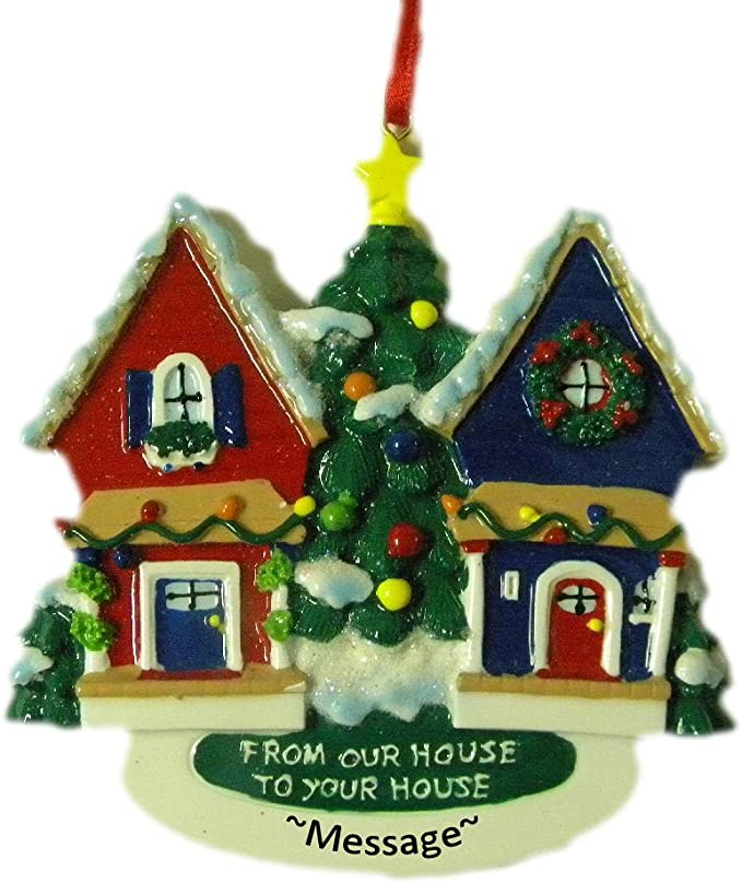 FREE PERSONALIZED CHRISTMAS TREE DOOR ORNAMENT HOME-NEW FROM OUR HOUSE TO YOURS