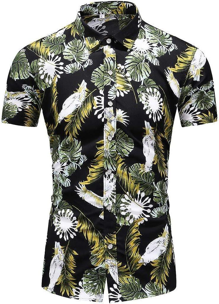 MOTOCO Hombre de Manga Corta de Verano de Negocios de un Solo Pecho Camisa de Manga Corta de impresión Informal Solapa Camisa Hawaiana(XL, Negro-2): Amazon.es: Ropa y accesorios