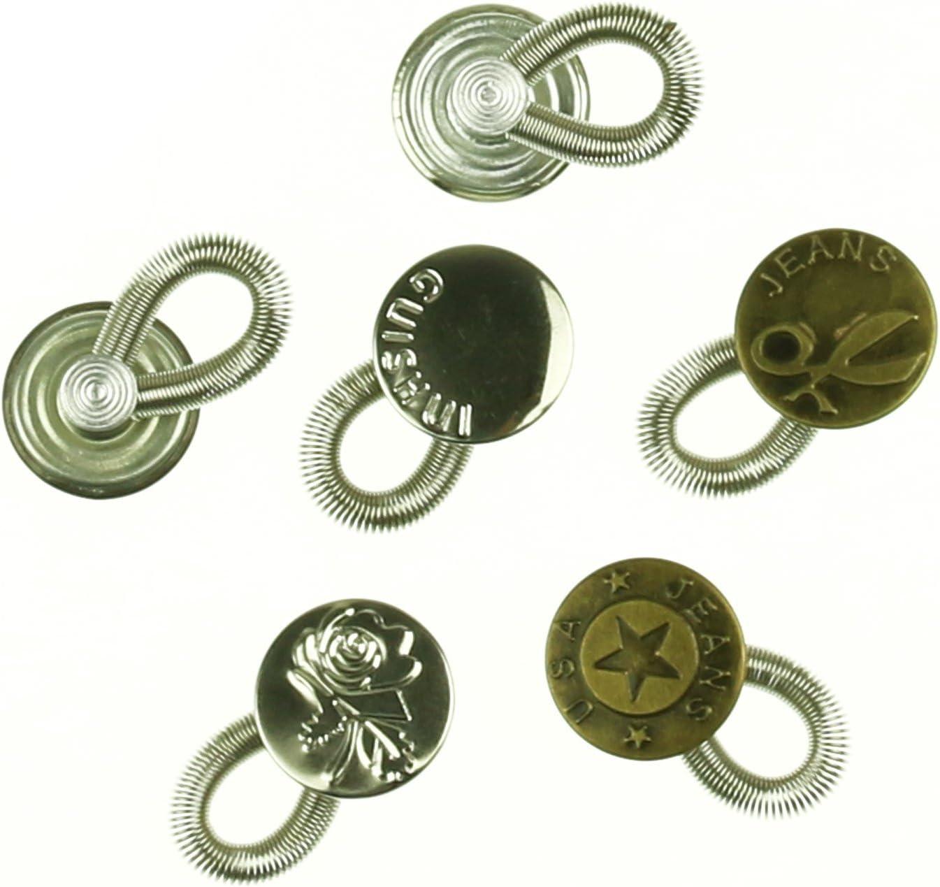 6pcs elástico primavera extensores de latón botón de metal ...