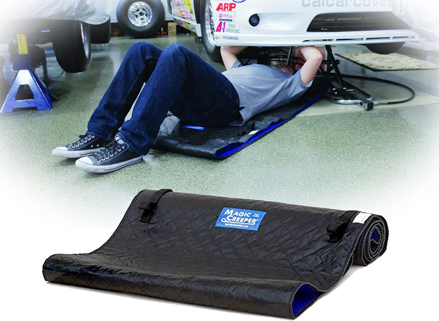 J/&C Foldable Automotive Creeper Mat for Garage Pad for Household Car Repair Help You Move Smoothly Under Cars Heavy Duty Handy Creepers 150 x 65cm 59 x 25 Inch