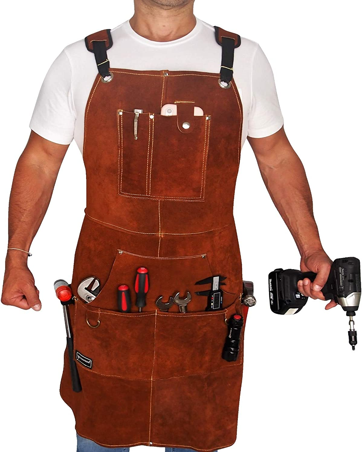 FIGHTECH Leather Work Apron with Tool Pockets for Men, Women | 36 x 24 | Welding Apron with Kevlar Stitching Ideal for Woodworkers, Blacksmiths, Gardeners, Mechanics, BBQ | Heavy Duty | Adjustable M to XXL