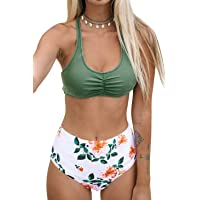 CUPSHE Women's High Waisted Bikini Floral Lace Up Two Piece Swimsuits