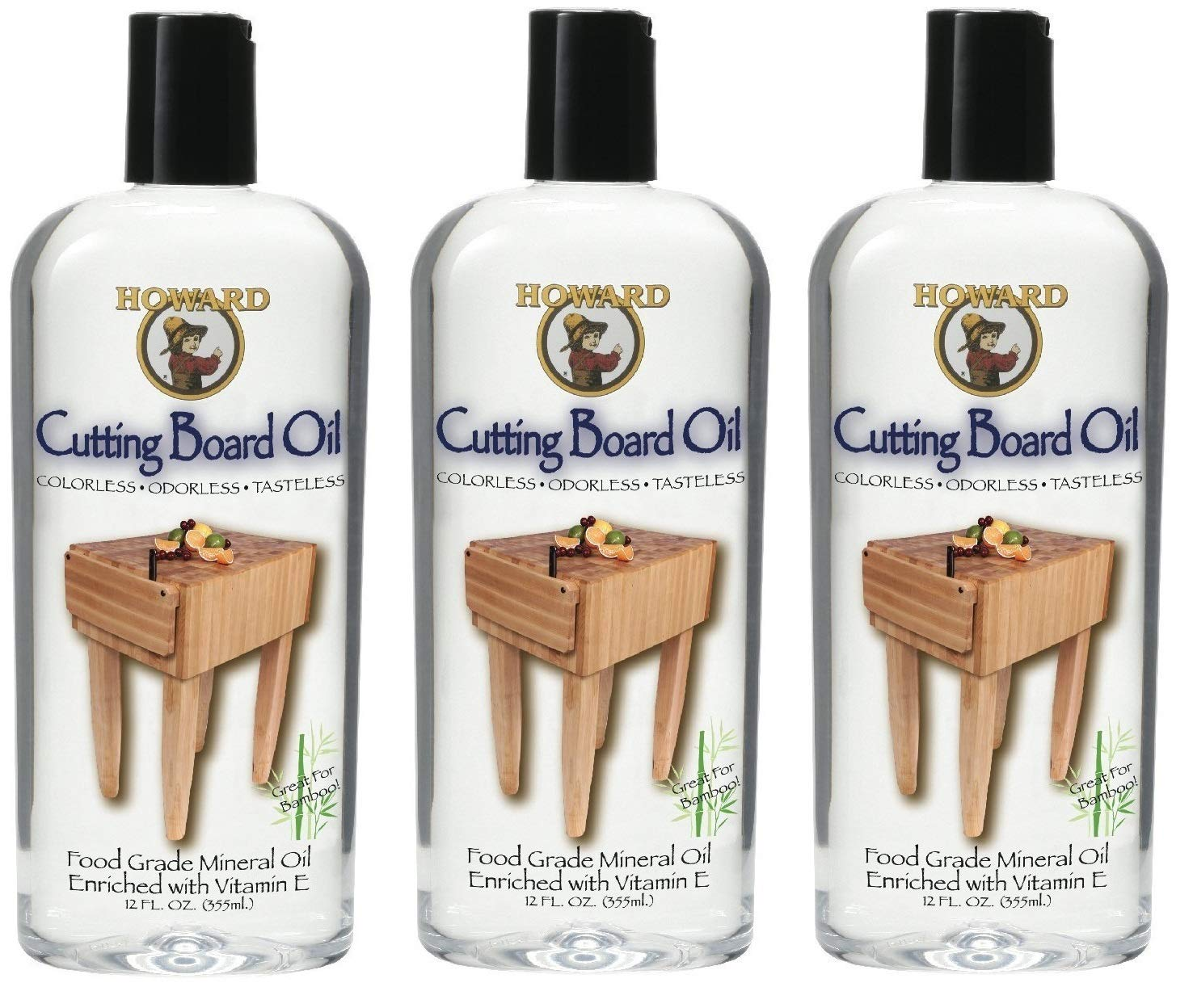 Howard Products BBB012 Butcher Block and Cutting Board Oil, 12-Ounce (3-Pack) by Howard Products