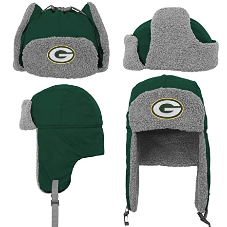 4317c39a8cf Image Unavailable. Image not available for. Color  Green Bay Packers Youth  NFL Linebacker Fur Lined Knit Trooper Hat