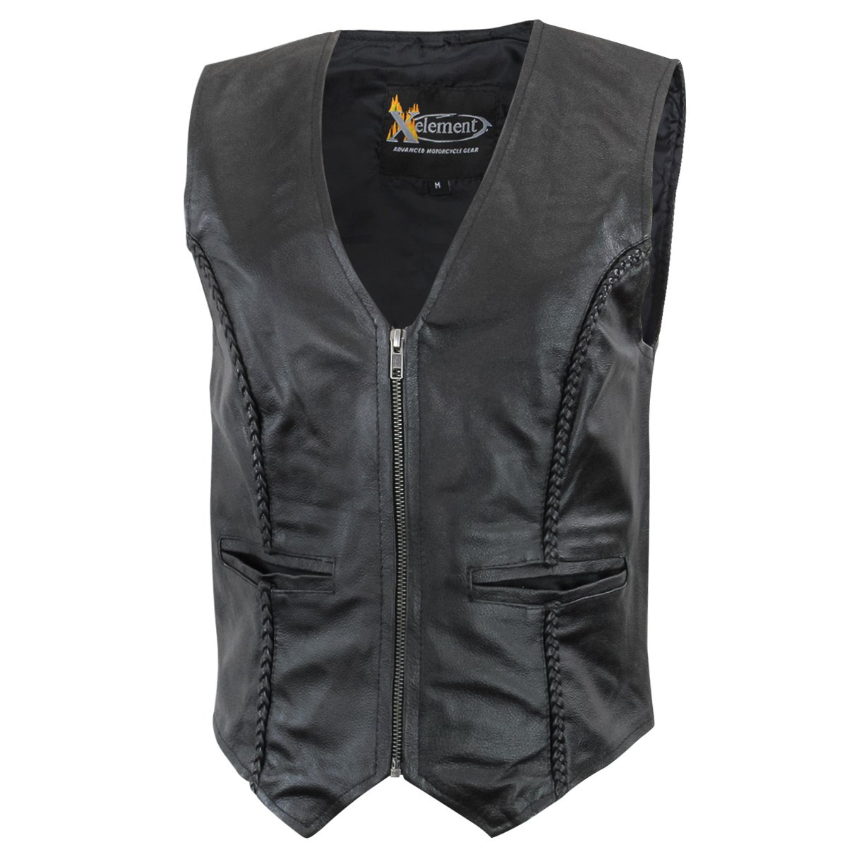 Xelement XS1246Z Women's Black Braided Leather Motorcycle Vest - Black / Medium