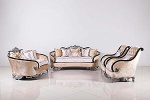 European Furniture 3 Pieces Rosabella Sofa Set (Black-Silver)