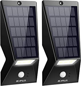 BEAMLUX LED Solar Lights Outdoor,Waterproof Motion Sensor Solar Wall Lights,Super Bright Wireless Solar Powered Security Light, Easy to Install for Front Door, Yard, Patio,Garage,Deck, 2 Pack
