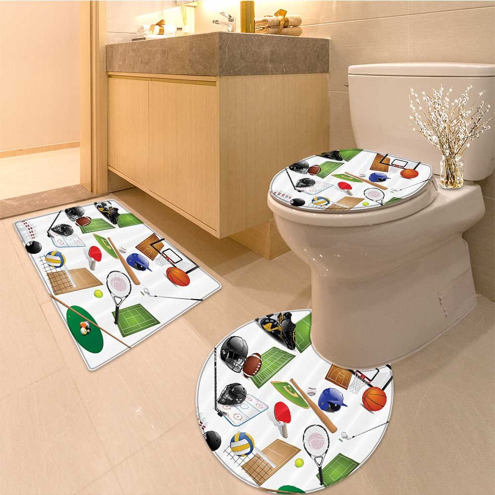 3 Piece large Contour Mat set Collection Sport Icons with Soccer Golf Table Tennis Balls Gs Skate Shoes Sporty Ima Bathroom Rugs Contour Mat Lid Toilet Cover