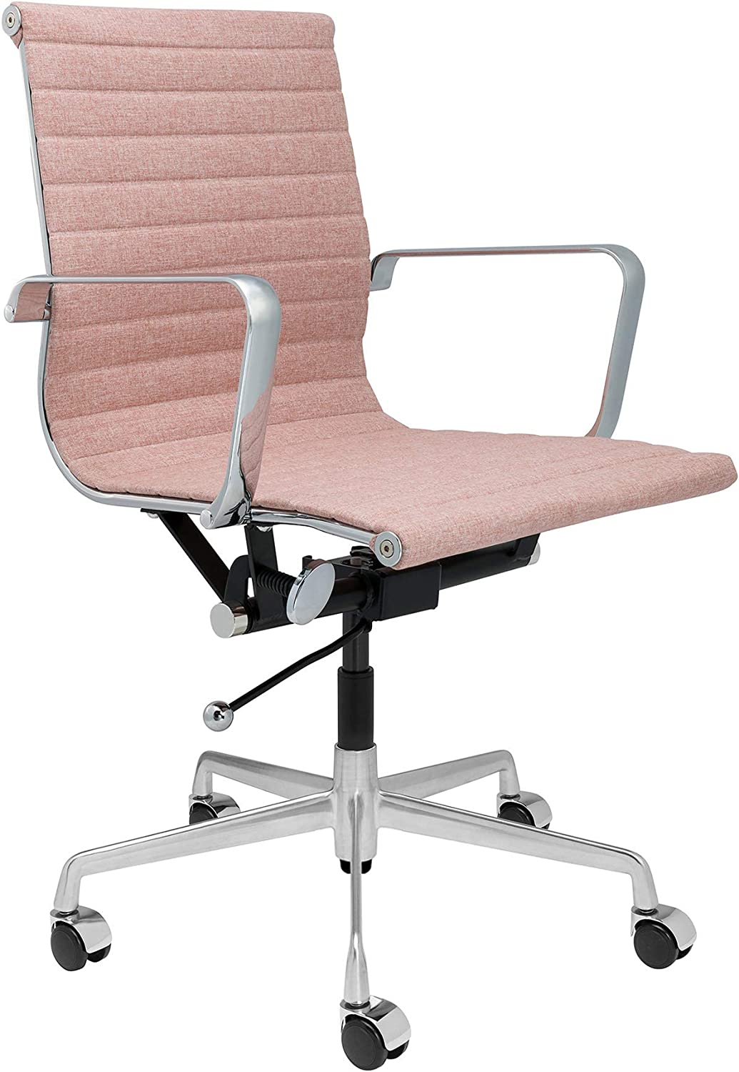 SOHO Ribbed Management Office Chair (Coral Pink Fabric)