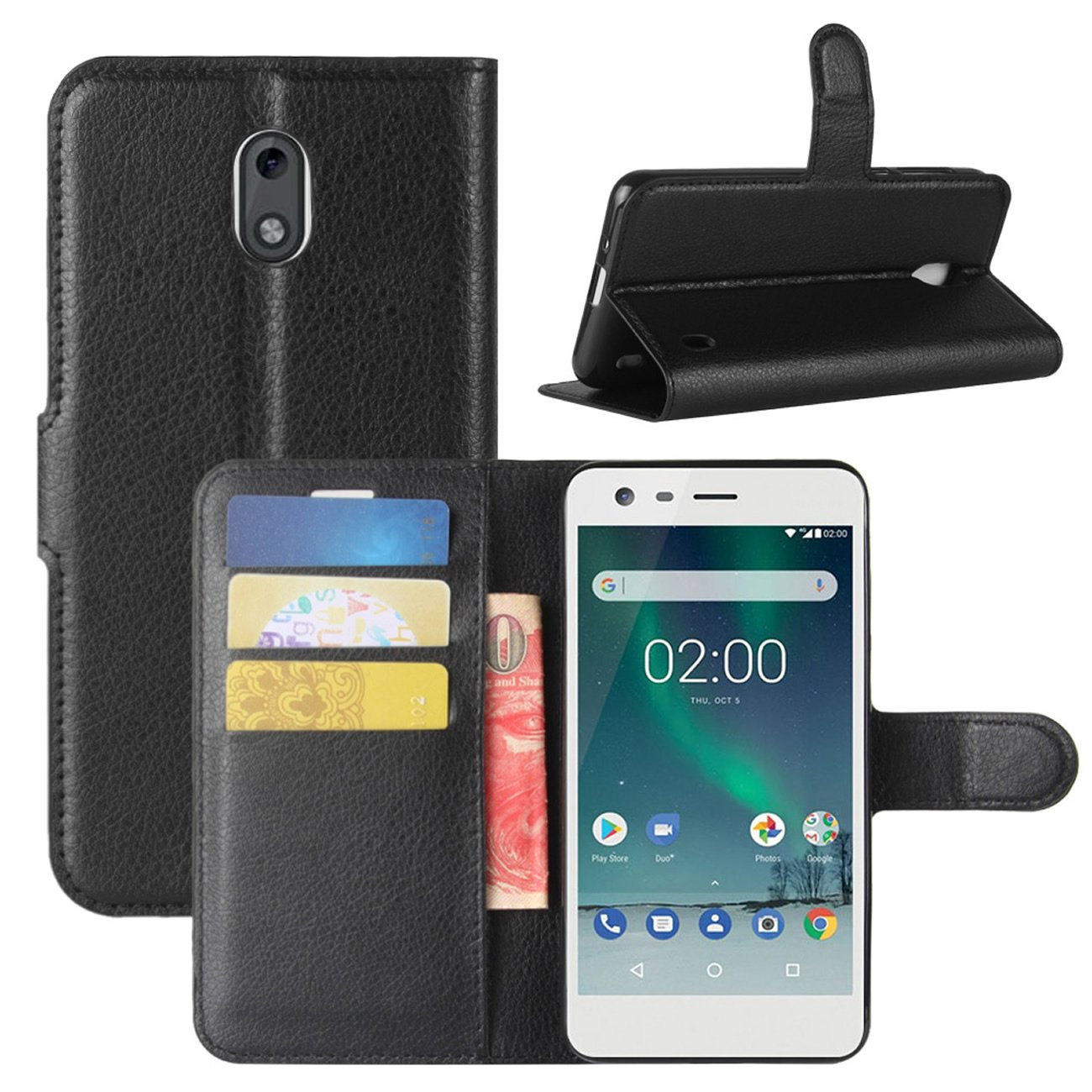 buy popular d72b8 44e29 Nokia 2 Case, Fettion Premium PU Leather Wallet Flip Phone Protective Case  Cover with Card Slots and Magnetic Closure for Nokia 2 Smartphone (Wallet -  ...