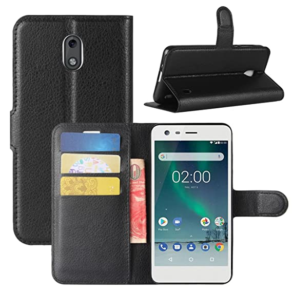 buy popular 619de aabd0 Nokia 2 Case, Fettion Premium PU Leather Wallet Flip Phone Protective Case  Cover with Card Slots and Magnetic Closure for Nokia 2 Smartphone (Wallet -  ...