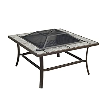 Outsunny Square Outdoor Backyard Patio Firepit Table, 36 Inch