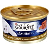 Gourmet Solitaire Wet Cat Food Duck Slowly Cooked in a Sauce with Garden Vegetables, 85 g - Pack of 12