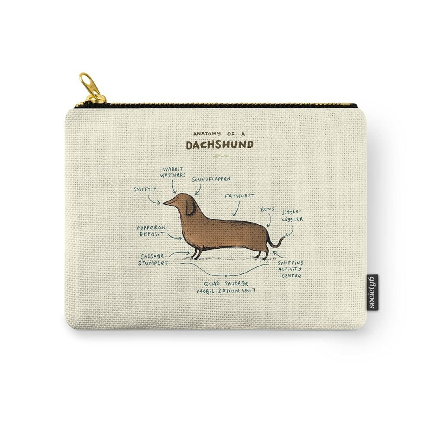 Society6 Anatomy Of A Dachshund Carry-All Pouch