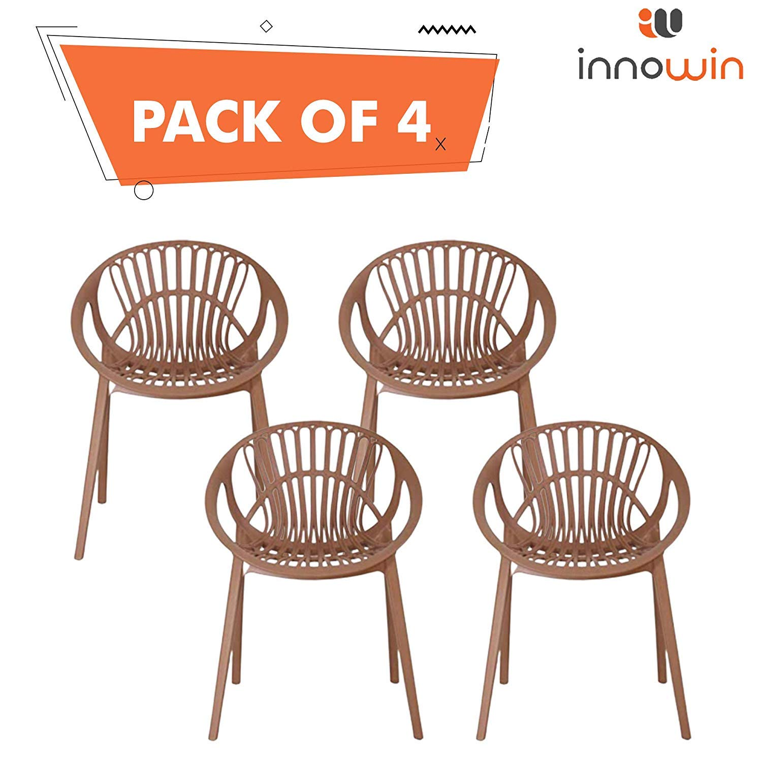 Innowin Olive Garden Chairs Indoor Outdoor Use Chair Chairs For Restaurants Chairs For Dining Room Cafe Set Of 4 Brown Amazon In Home Kitchen