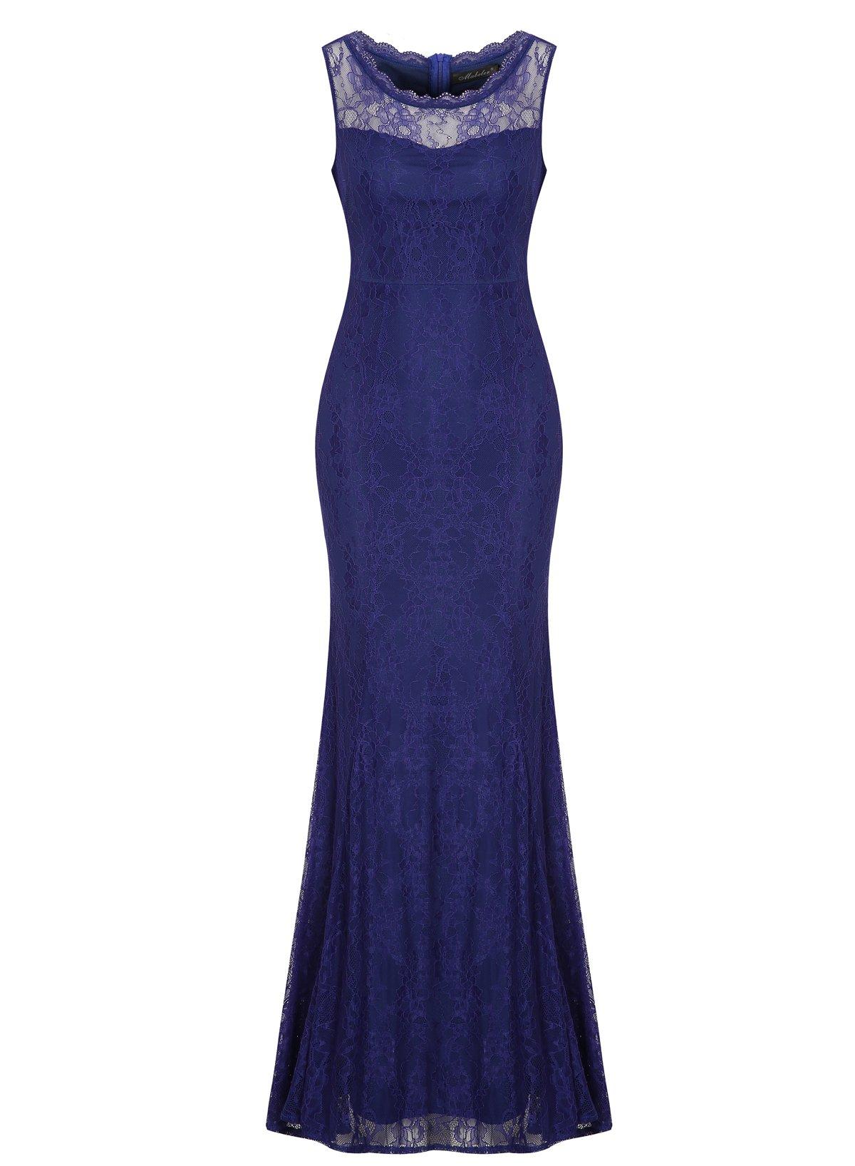 Brautjungfernkleid Lang Blau: Amazon.de
