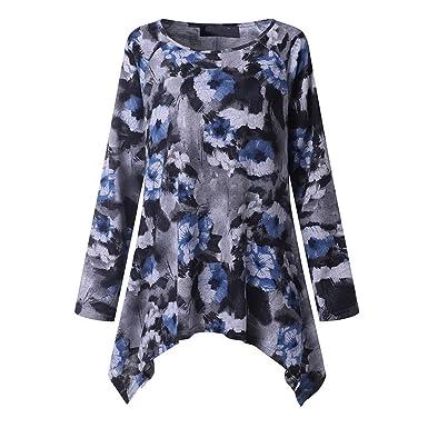 Ropa Camisetas Mujer, Costura Estampada Vintage O-Cuello Abajo ...