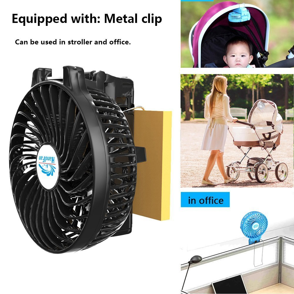 Mini Fan Battery Operated, Kingcenton Handheld Portable Foldable 4 Inch Fan with Clip for Stroller - 2000mAh Rechargeable Battery, 3 Speeds Adjustable for Home, Office and Travel (Black) by Kingcenton (Image #6)