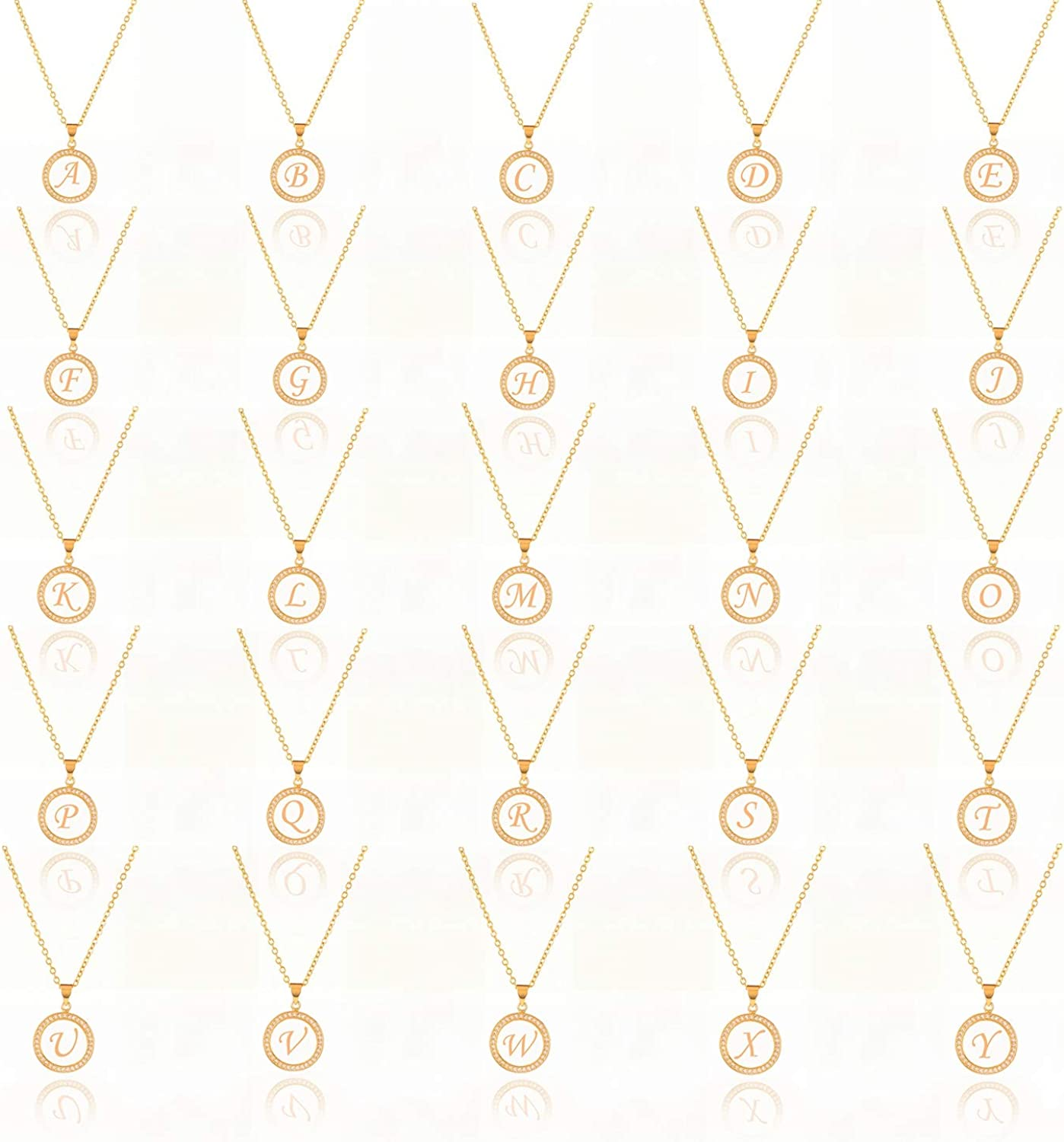 T-White Gold Samiaya Fashion Charm Gold 26 Alphabet Pendant Necklace Micro Pave Zircon Initial Letter Necklaces Couple Name Necklace