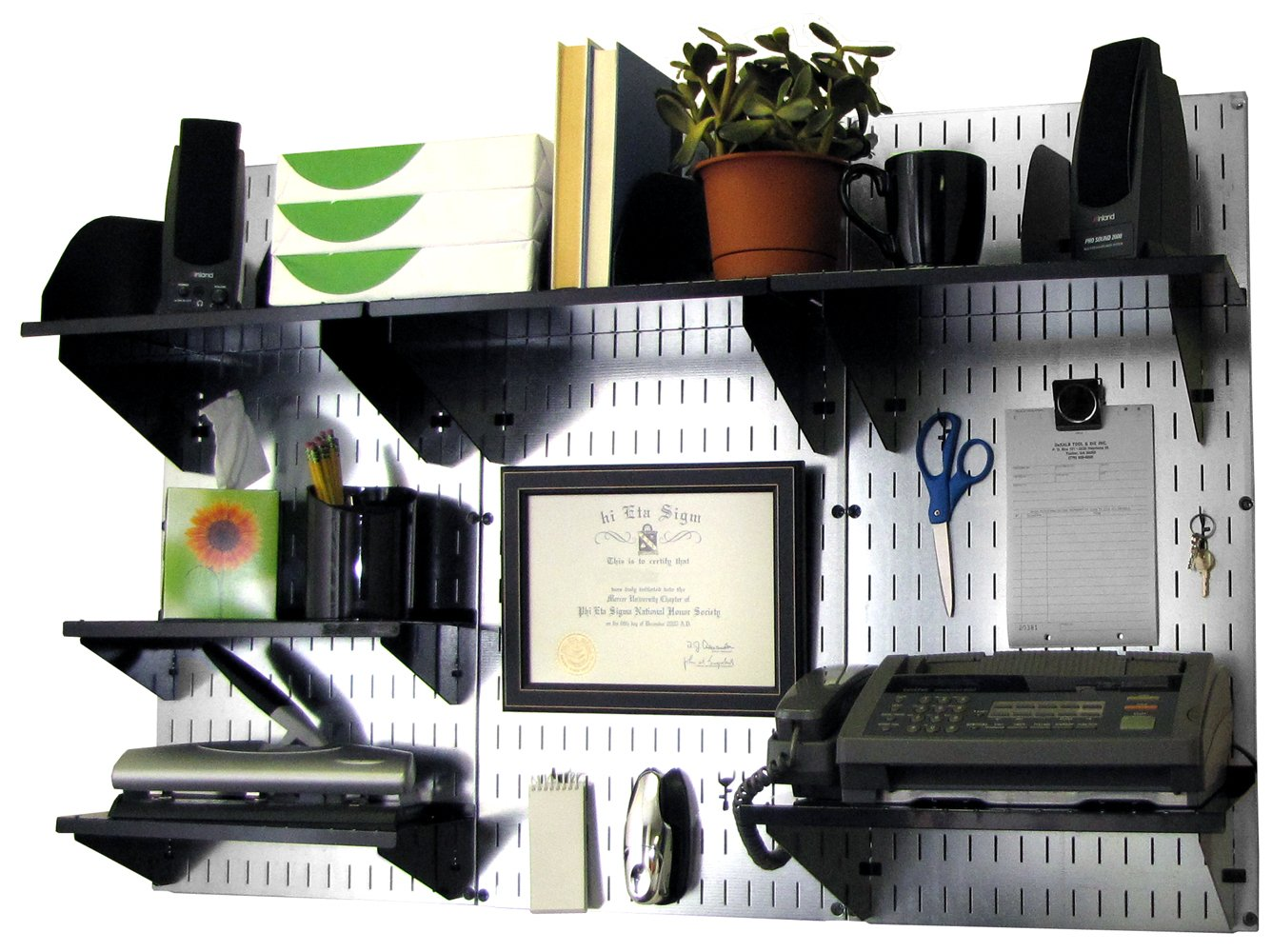 Wall Control Office Organizer Unit Wall Mounted Desk Storage and Black Accessories (10-OFC-300 GVB)