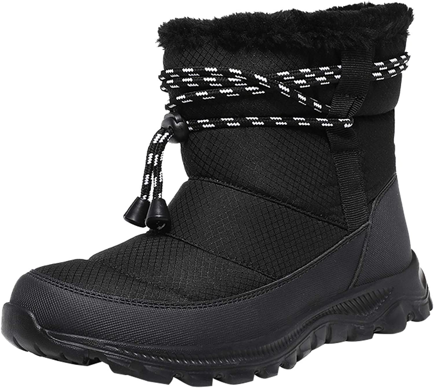 Barerun Snow Boots for Women Winter Fur Lined Warm Boots Slip On Mid Calf Outdoor Booties Water Resistance Shoes