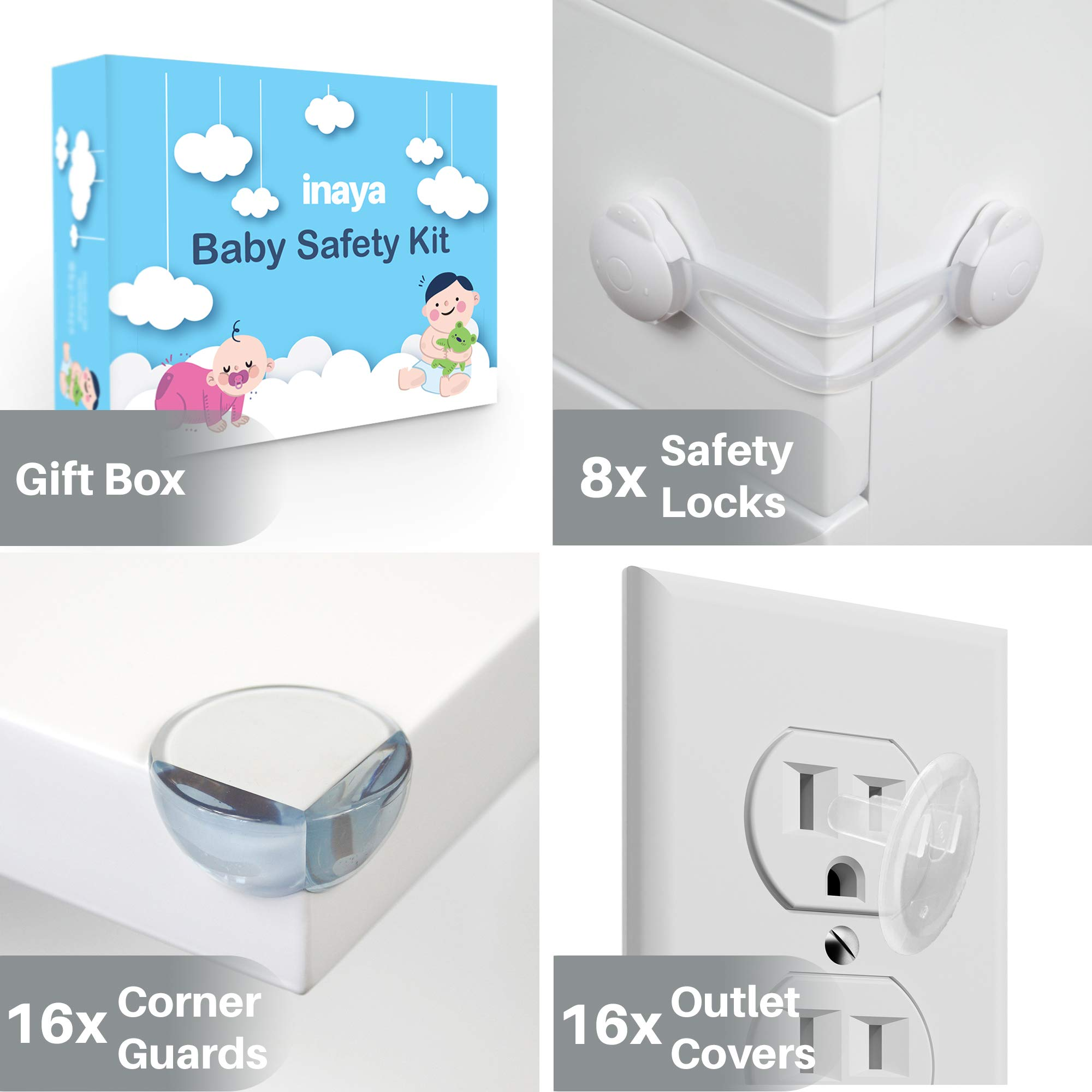 Complete Baby Proofing Kit - 8 Safety Locks, 16 Corner Guards, 16 Outlet Covers - Accident Proof Devices to Keep Your Child Safe at Home - Inaya - Great Gift for Baby Shower & Baby Registry by Inaya (Image #2)
