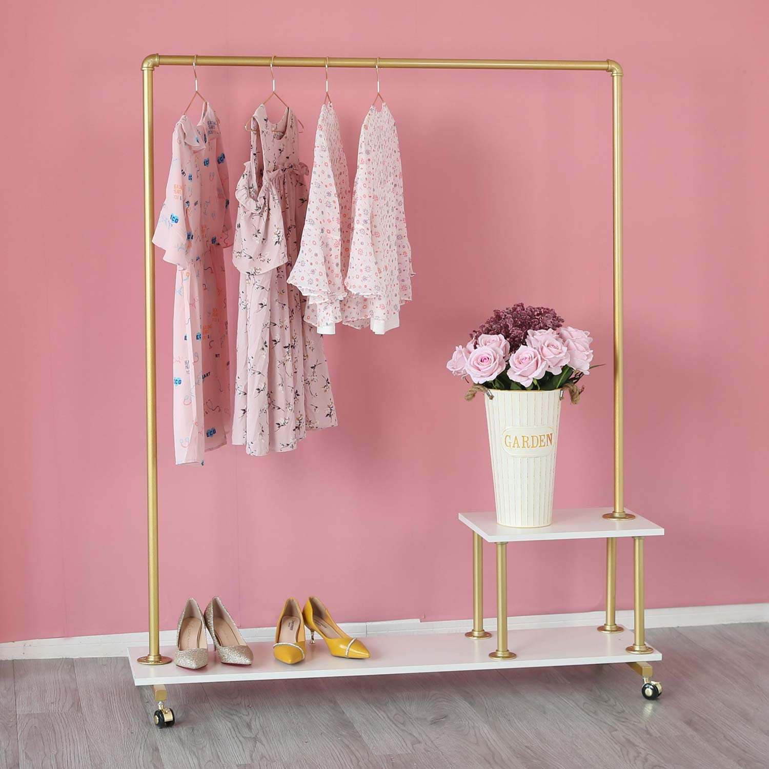 "Gold Metal Clothing Rack with Wood Shelf, Heavy Duty Rolling Garment Rack with Wheels for Bedroom Retail Boutique Use(51.18""H)"