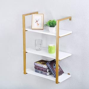 KINGVON Rustic Metal and Wood Wall Shelf Unit,Farmhouse Floating Bookshelf Wall Mounted,Industrial Shelving Iron Wall Shelves,Floating Real Wood Book Shelves for Bedrooms Office(3 Tier,24in,Gold)