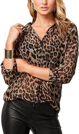 Jumojufol Elegante Camisa De Estampado De Leopardo De Las ...