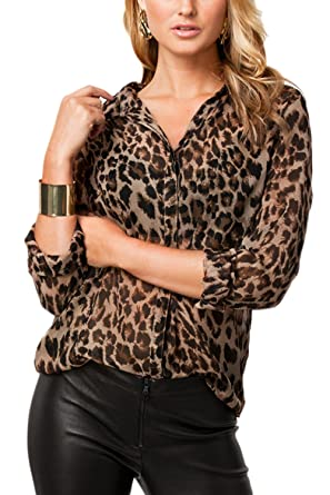 e5bfe7792364 Women's Elegant Shirt Collar Leopard Print Chiffon Top T Shirt Blouse at  Amazon Women's Clothing store: