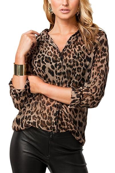 e070611df117 Jumojufol Women's Elegant Shirt Collar Leopard Print Chiffon Top T Shirt  Blouse: Amazon.co.uk: Clothing